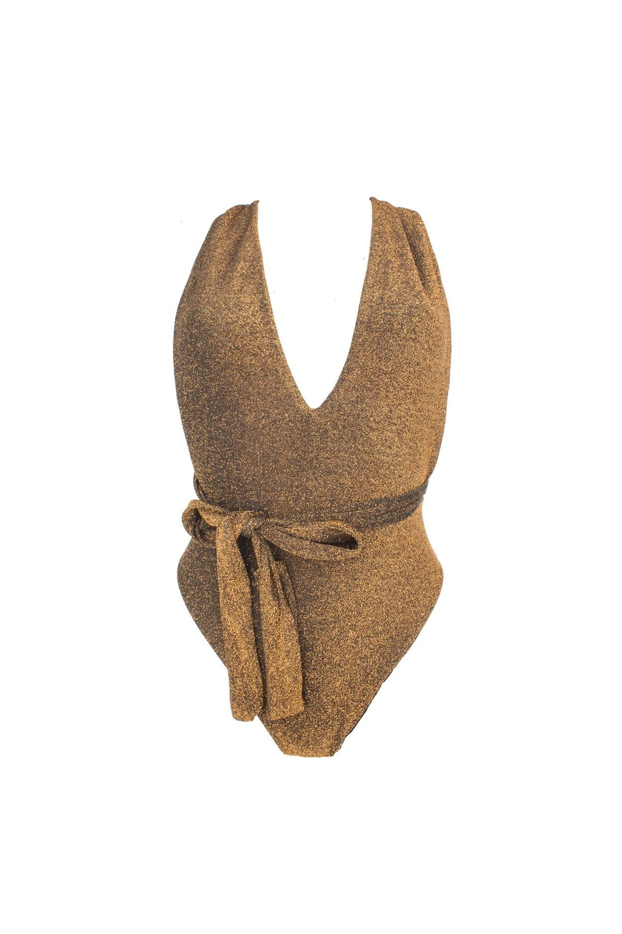 glitter bronzo fascione costume intero donna lurex