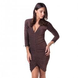 abito donna lurex brown marrone