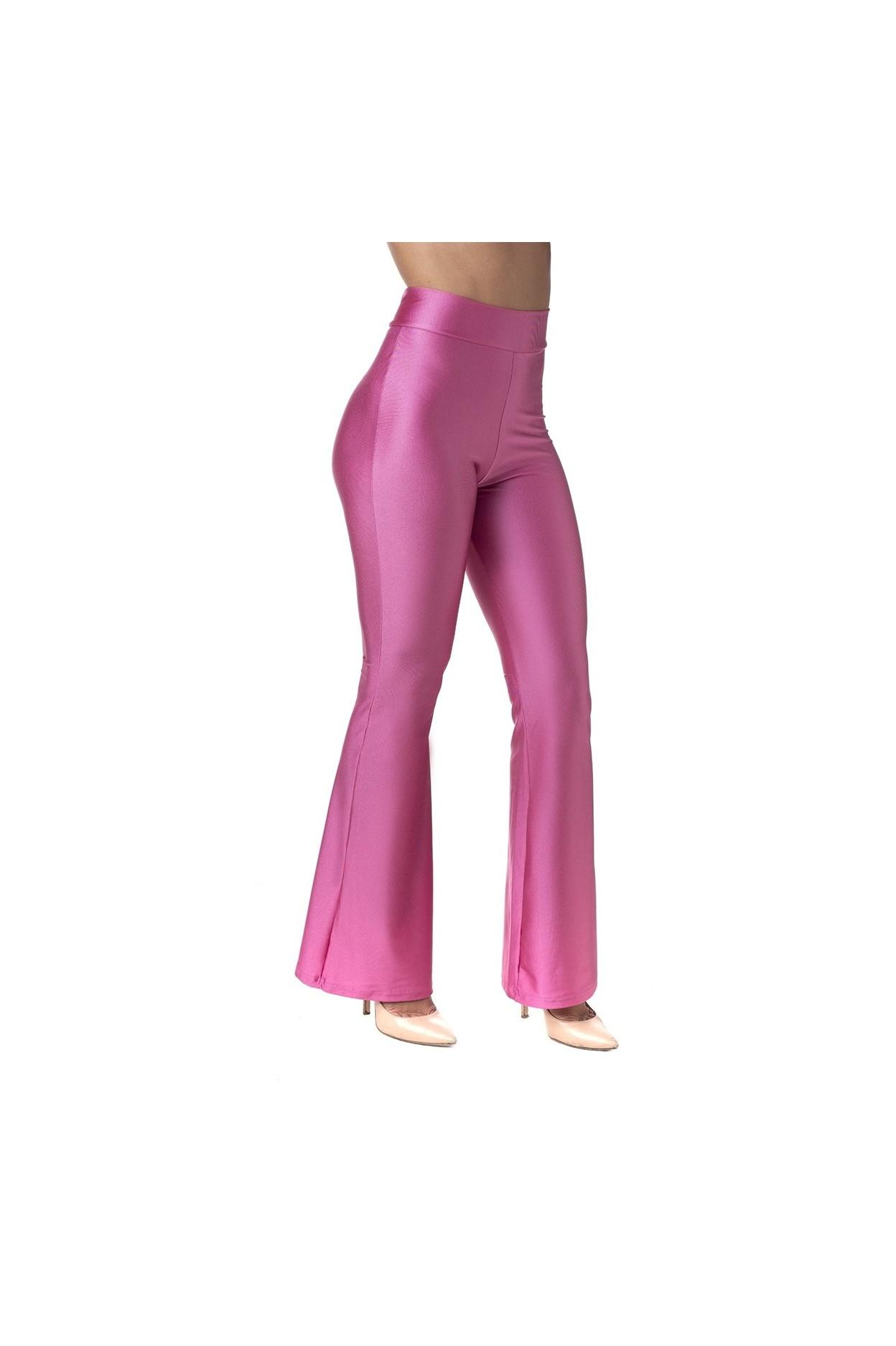 pantalone zampa donna lycra lucida fuxia