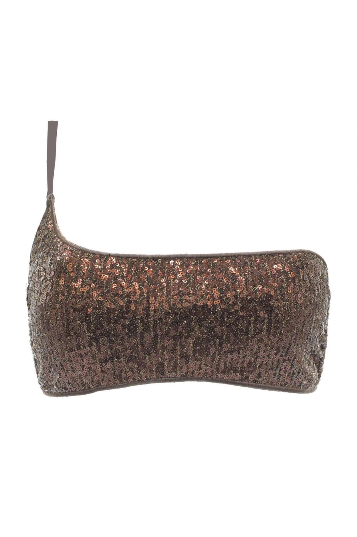 shine brown monospalla costume donna lurex pailettes marrone