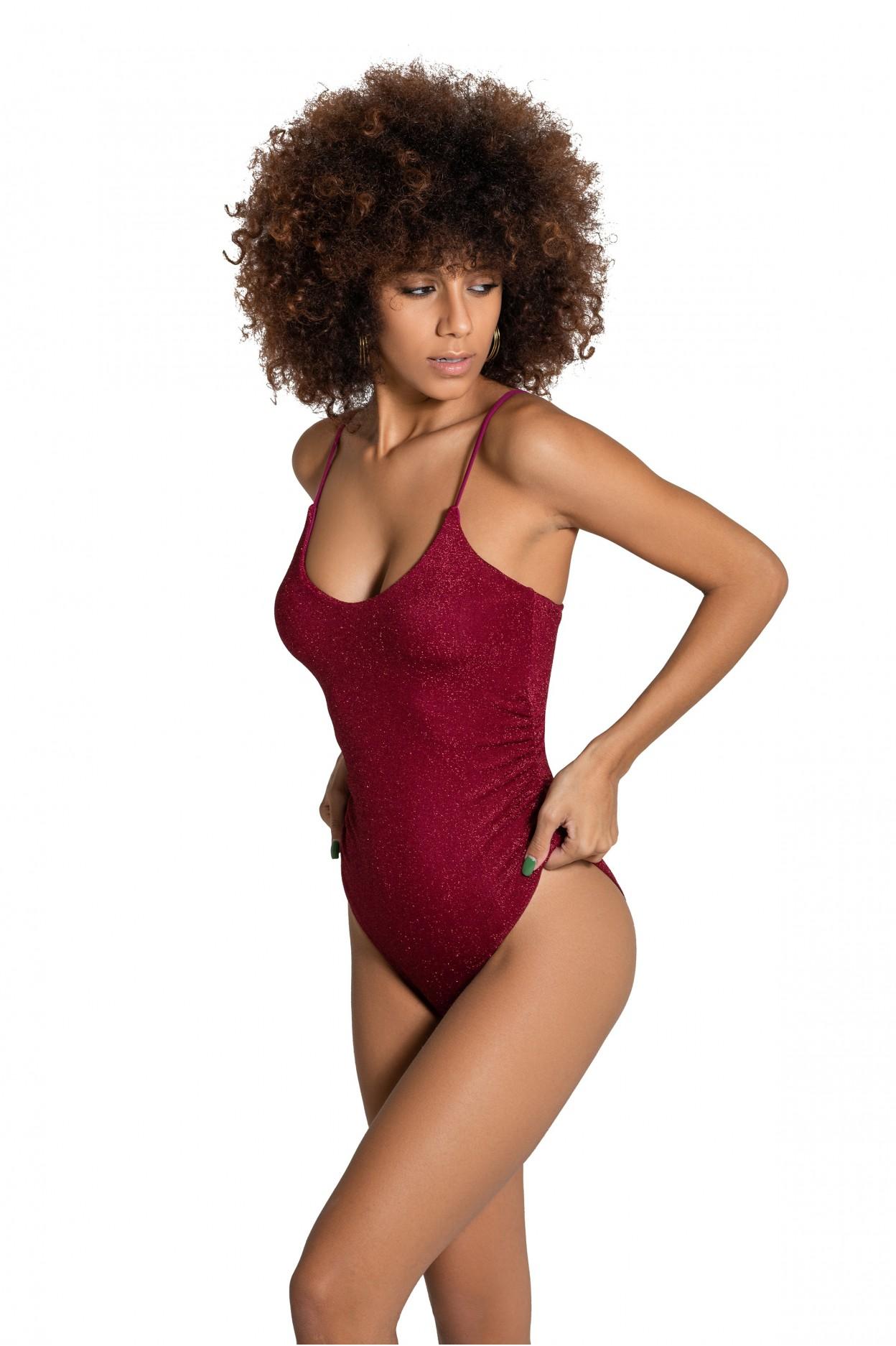 body glitter amaranto costume donna lurex rosso
