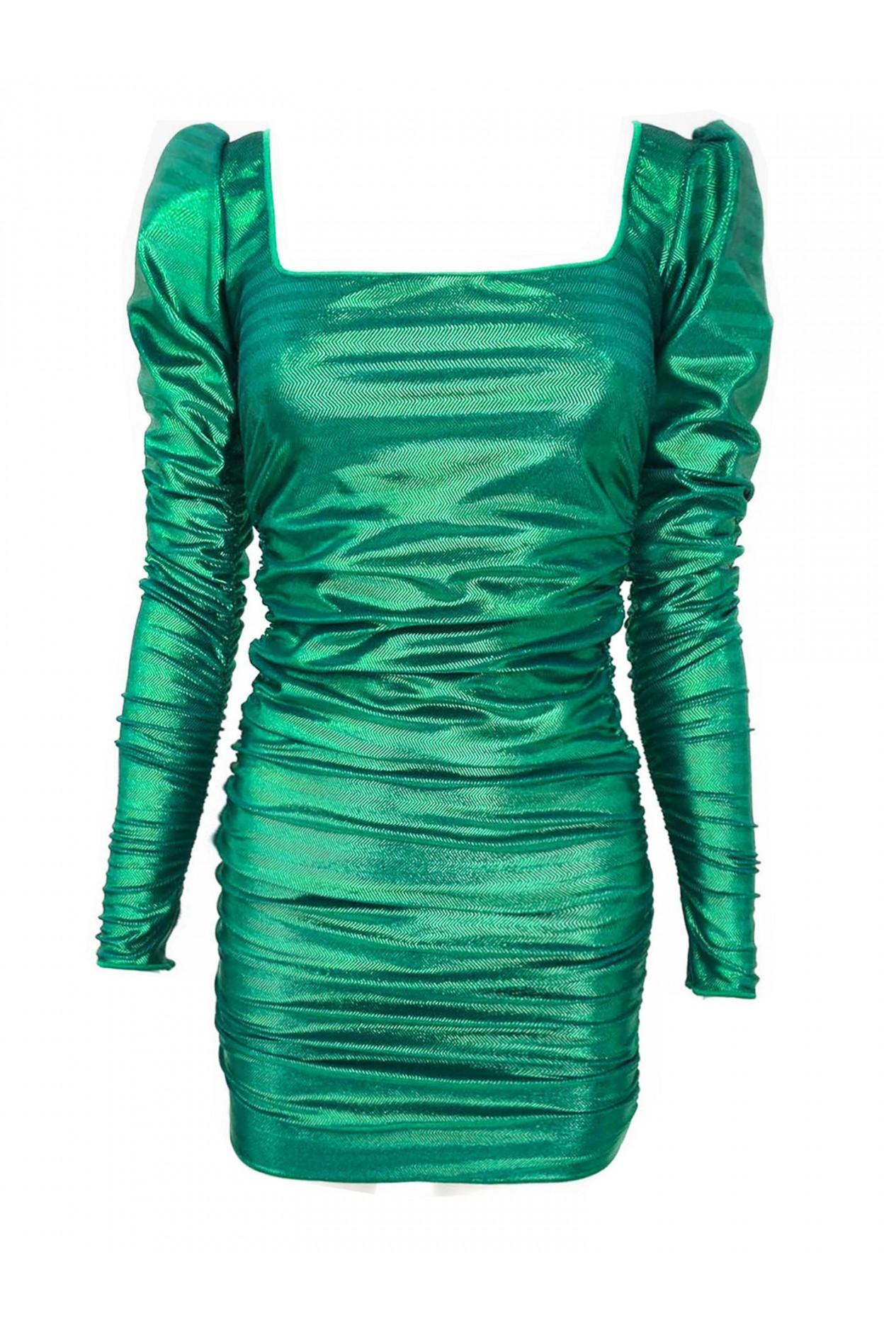 abito laminato verde donna