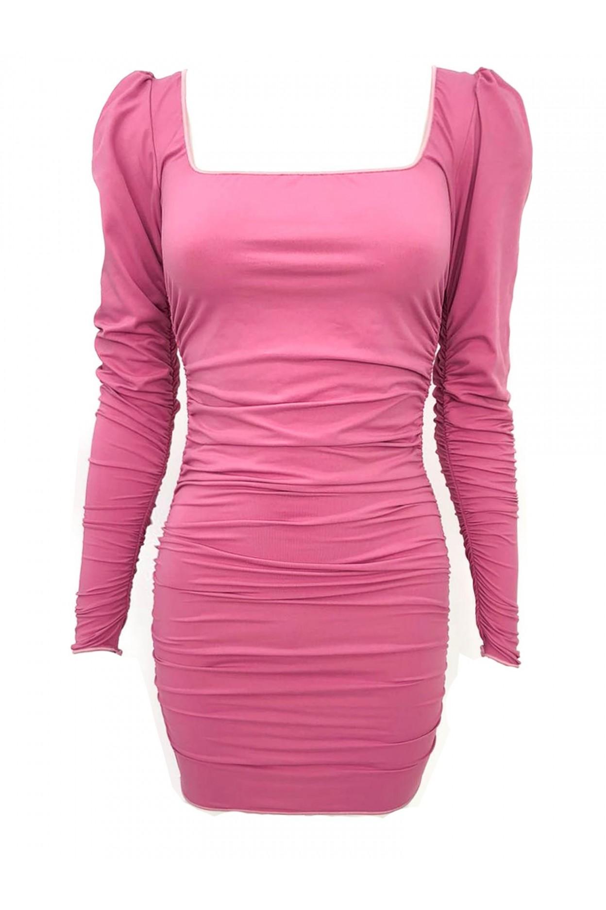 abito microfibra rosa donna