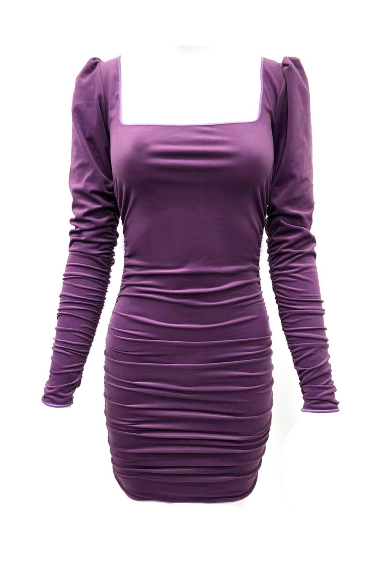 abito velour viola donna