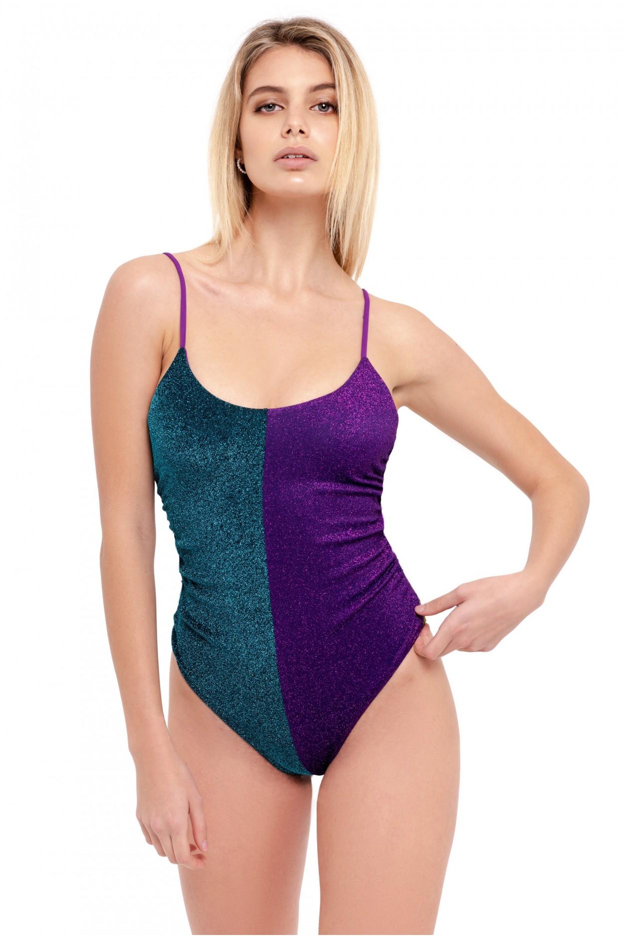 dalim costume intero donna body glitter azzurro/viola/verde