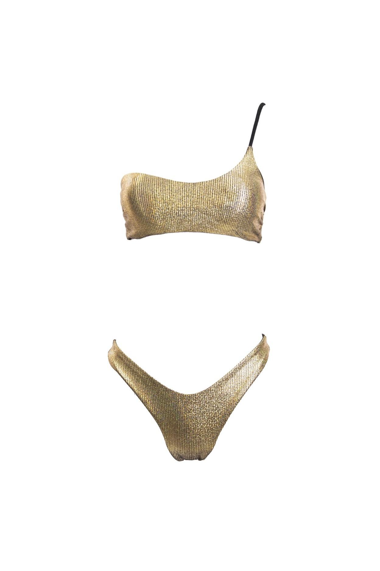electra bikini donna monospalla costume oro