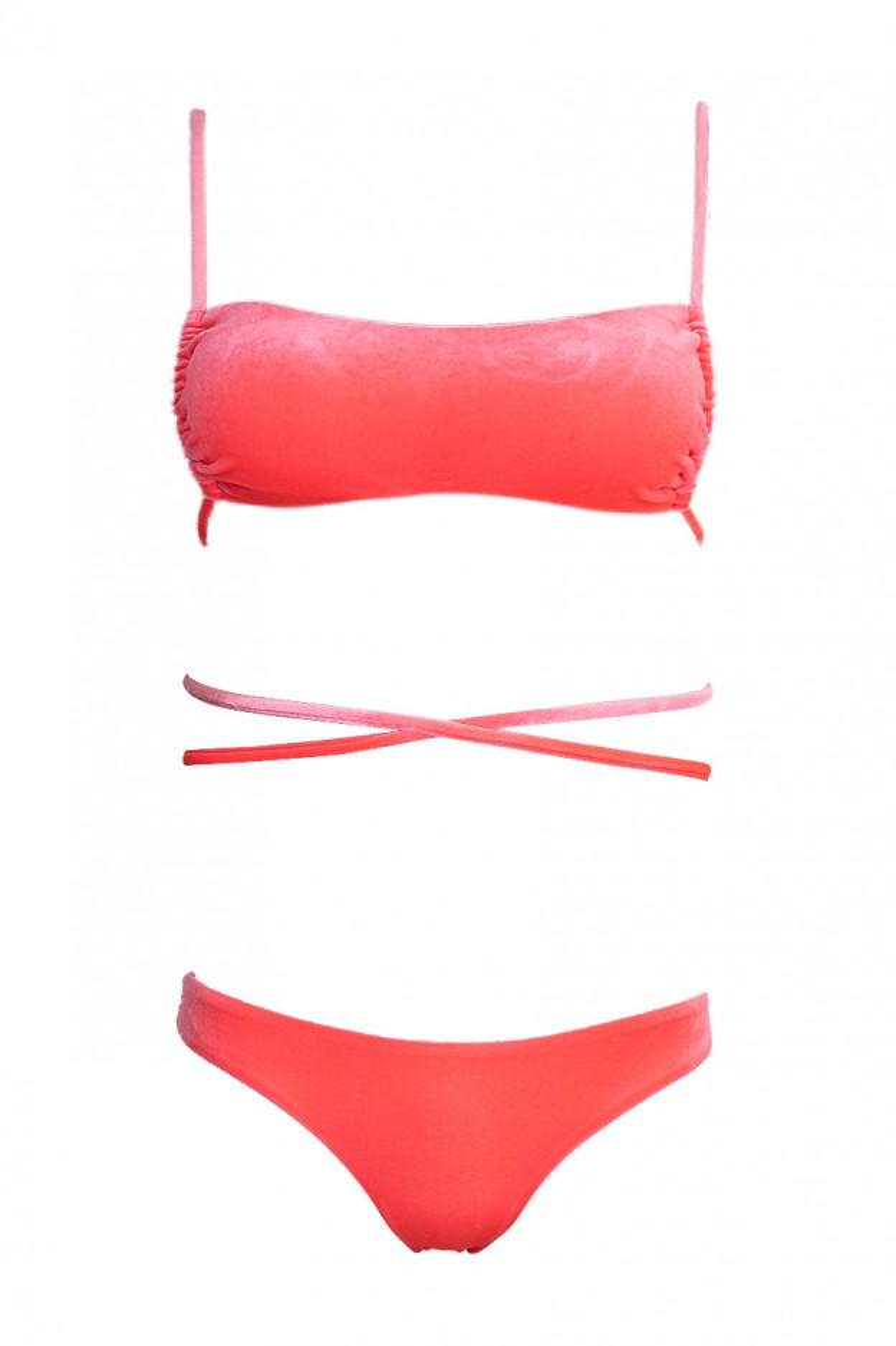 rea bikini donna rosa fluo velluto